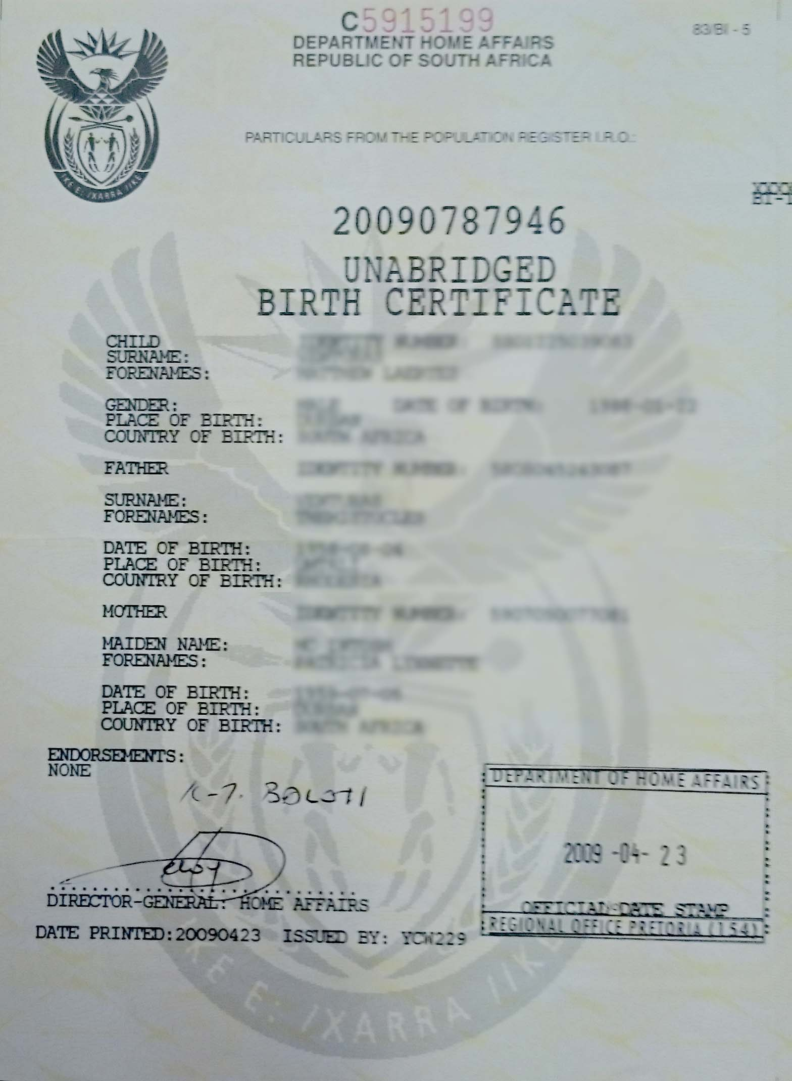 unabridged birth certificate