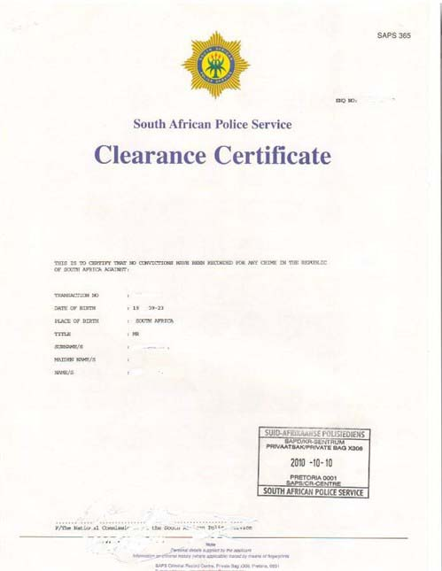Apply For A Police Clearance Certificate - SAvisas com