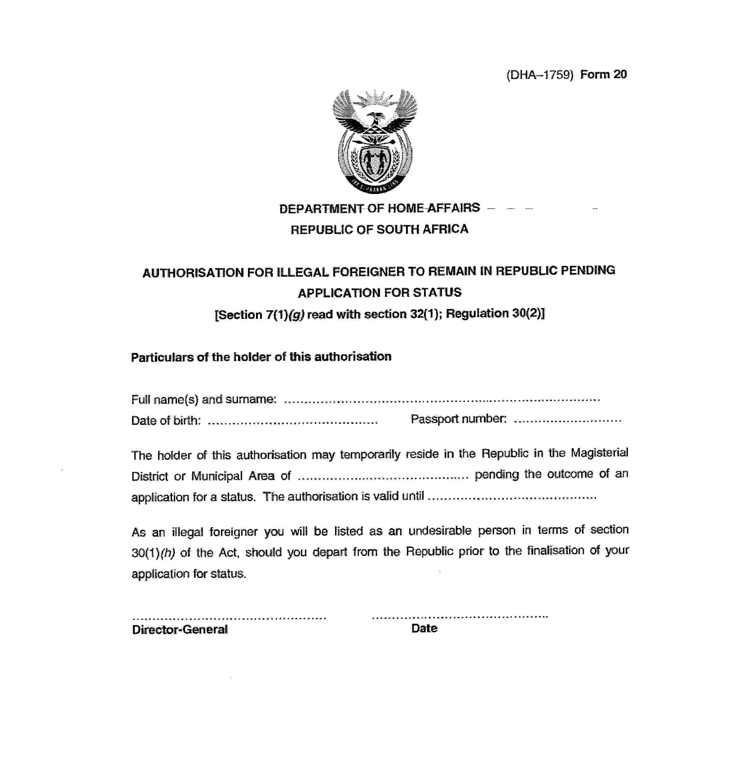 apply for a south african letter good cause